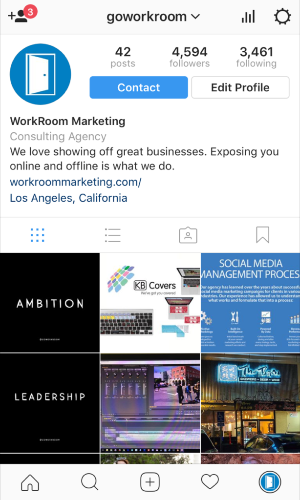 instagram screenshot of business account
